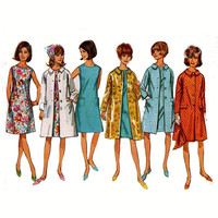 60s Mod dress and coat and scarf vintage sewing pattern Simplicity 6926 Small Bust 31