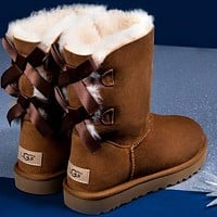UGG Hot Selling Classic Short Snow Boots Casual Double Bowknot High Top Warm Boots