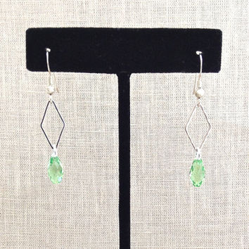 Silver Geometric Earrings, Long Dangle, Green Crystal Drop, Diamond Shaped, Silver Metal, Small Pendant, 589