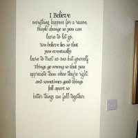 """Marilyn Monroe Quote """"I Believe"""" - Vinyl Wall Words Lettering Decal Sticker"""