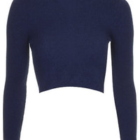 Funnel Neck Ribbed Crop Top - Navy Blue