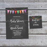 Baby Girl Shower Invitation Girl Baby Shower Invitations for Girl Printable Baby Shower Invites (V21) - Free Thank You Tags Instant Download