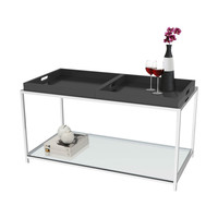 Modern Glass Top Metal Coffee Table with Black Removable Trays