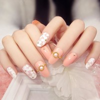 New 24pcs fashion pink base white floral pearl Nail Acrylic full cover False Nail Fake Nails art Tips Stickers with GLUE in