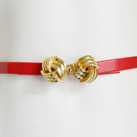 Vintage Thin Red Pleather Belt with Gold Twist Clasp Fashion Accessory Vegan