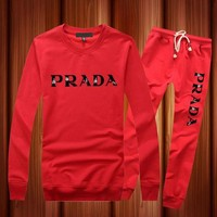ONETOW PRADA Fashion Long Sleeve Shirt Top Tee Pants Trousers Set Two-Piece Sportswear