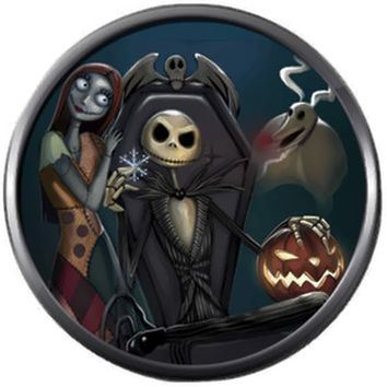 Sally And Jack In Chair Nightmare Before Christmas Jack Skellington Blue 18MM - 20MM Snap Jewelry Charm