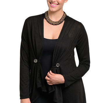 Button Tab Front Draped Semi Sheer Knit Cardigan