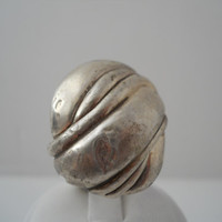 Sterling Silver 925 Large Puffy Ridged Ring Size 9 Hand Made 1x1.25in 925
