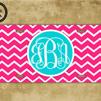 Monogrammed chevron license plate - Hot pink chevron with Light blue monogram - chevron personalized car tag (9695)
