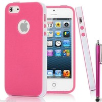 Hot Pink 2-Piece Hybrid TPU Combo Case Cover For iPhone 5 +Screen Protector+Pen