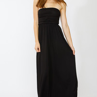 Strapless Ruched Maxi Dress