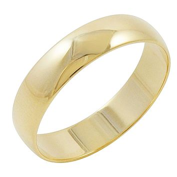 Men's 10K Yellow Gold 5mm Traditional Plain Wedding Band (Available Ring Sizes 7-12 1/2)