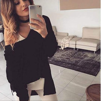 Round-neck Loose Pullover Knit Tops Sweater [9430010500]