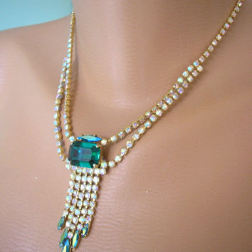 Great Gatsby Jewelry, Emerald Necklace, Art Deco, Green Rhinestone, Aurora Borealis, Waterfall Necklace, Christmas Gift, Gift For Her