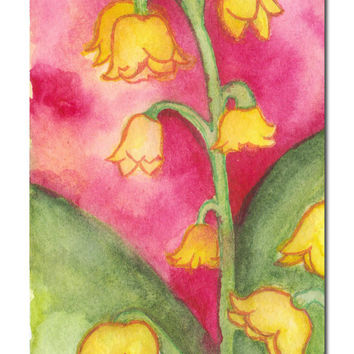 Bright Pink Floral Watercolor Painting - Girls Room - Childrens Decor - Samiamart