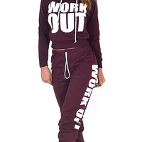 Womens Wine Work Out Hoodie 2 Piece Tracksuit (Mtc)