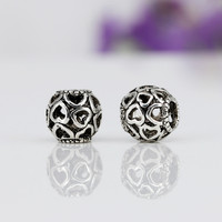 Silver Beads Charms with Hollow Full Love Heart Bead Charm Fit Women Diy Pandora Snake Chain Bracelets & Bangles YW15148