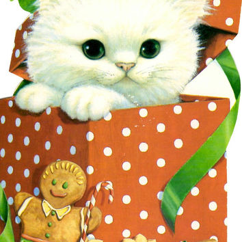 Vintage Kitten Christmas Card - Unused Stationery -  White Cat - Gift Box - Gingerbread Man -  Hallmark Card - Cute Holiday Greeting Card