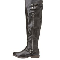 Bamboo Knee-High Riding Boots by Charlotte Russe
