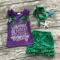 2016 girls clothing purple green scale mermaid boutique short sets starfish kids Summer sleeveless clothes clothing with bow set