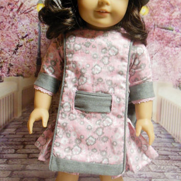 """Historical American girl doll clothes """"Pleated Blossoms"""" Early 1900s pink & gray apron frock (18 inch) pattern by Eden Ava Couture"""