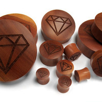 Engraved Diamond Wood Plugs (00G - 2 Inch) - Sold in Pairs - New!