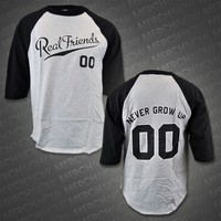 Never Grow Up Heather / Black Baseball Tee : FEAR : MerchNOW - Your Favorite Band Merch, Music and More