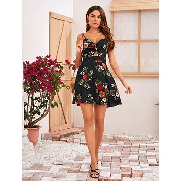 SHEIN Twist Cut Out Front Tie Back Floral Print Slip Dress