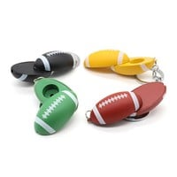 6 Pcs/Lot Football Shaped Metal Tobacco Smoking Pipe with Key Chain Portable Bendable Weed Pipa,Color Random