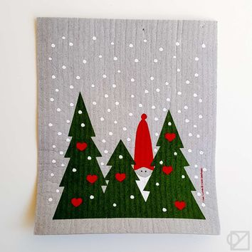 Swedish Dishcloth Forest Tomte