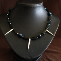 Handmade Black Bead and Silver Spike Necklace