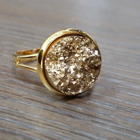 Druzy Ring- Rocky gold drusy Gold tone druzy ring