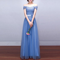 Blue Off Shoulder High Waist Maxi Dress