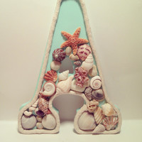 Seashell collage  Custom Letter by byElizabethSwan on Etsy