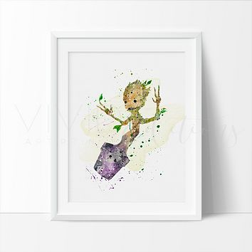 Groot Watercolor Art Print