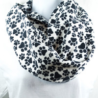Paw Print Infinity Scarf - 100% Cotton in Snuggle Flannel - Pre-washed Pre-shrunk - Handmade - Great Gift - Easy Care