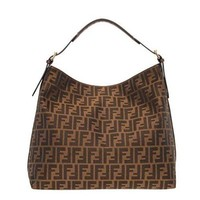 DCCK6N8 Fendi Authentic Genuine Large Zucca Pattern Tobacco Brown Leather Borsa Hobo Bag