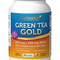 #1 Green Tea Extract - Green Tea GOLD, 500 mg, 180 Vegetarian Capsules - Decaffeinated Green Tea Fat Burner Supplement for Weight-loss (98% Polyphenols, 50% EGCG)
