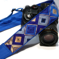 Camera Strap. DSLR Camera Strap. Gold Blue Camera Strap. Padded Camera Strap. Fashion Camera strap.  Camera Accessories