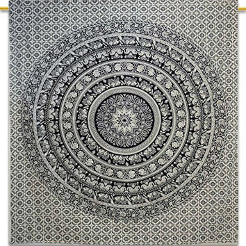 Traditional Hippie Cotton Tapestry, 90 x 90 inch Elephant Mandala Indian, Black and White, Queen
