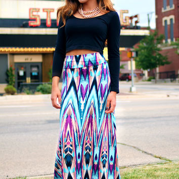 Lady Marmalade Maxi Skirt - Blue