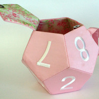 Pink d12 Bag - dice bag, knitting bag, purse