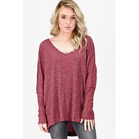 Metallic Sparkle V-neck Tunic {Burgundy}