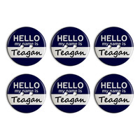 Teagan Hello My Name Is Plastic Resin Button Set of 6