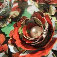 One dozen ( 12 ) hand rolled 2 inch red patterned paper sweetheart roses