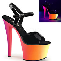 Ankle Strap Sandal-Neon Platform And 7 Inch Heels-Stripper Shoes