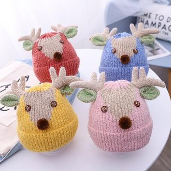Cartoon Elk Shape Baby Hat Winter Version Cute Knit Hat For Boys And Girls To Keep Warm Children Hat