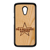 Carved on Wood Effect_Celebrity Hater Black Hard Plastic Case for Moto G2 by Chargrilled