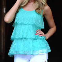 Lace Play A Game Tank: Teal | Hope's